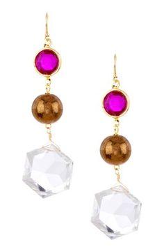 Acrylic & Czech Crystal Triple Drop Earrings