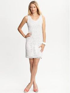 White lace sheath | Banana Republic    Is this too much lace? I think the cut could be more flattering but including it to have lots of ideas to start