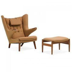 HANS WEGNER Papa Bear chair and associated ottoman (1914 - 2007) A.P. STOLEN #Papa# Bear chair with associated #Danish #ottoman, Denmark, 1960s #Oak, teak, upholstery
