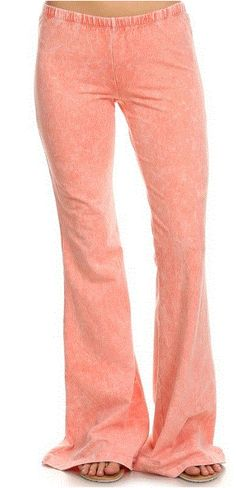 8a041e59070 Chatoyant Mineral Wash Bell Bottom Soft Pants - Peach - Debra s Passion  Boutique - 1 Bell