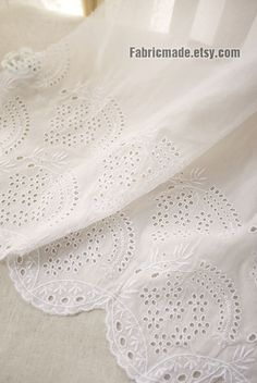 Off White Cotton Eyelet Border Fabric Off White Lace by fabricmade White Lace Fabric, Embroidered Lace Fabric, Lace Silk, Lace Trim, Cotton Fabric, Border Embroidery, Embroidery Fabric, Embroidery Patterns, Floral Stripe