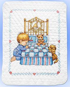 Tobin Stamped #crossstitch  BEDTIME PRAYER BOY #quilt #baby #DIY #needlecraft