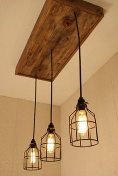 Industrial Lighting, Cage Light Chandelier Black With Reclaimed Wood And 3…