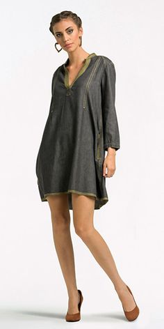 Vestido - Indigo Miane Grey 160 4,5 oz #jeanswear #greyjeans #camisaria #summer #fluiddress #fashion #lookbook #focustextil #focusonjeans
