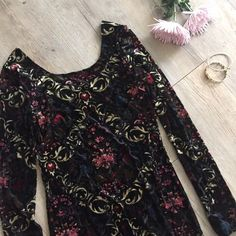 Free People Dress Velvet dress with beautiful pattern. Can be worn with a higher neck or lower neck. I cut the tag out so that I could wear the back as the front, but it fits like a small-medium!  ❤️ Free People Dresses Mini