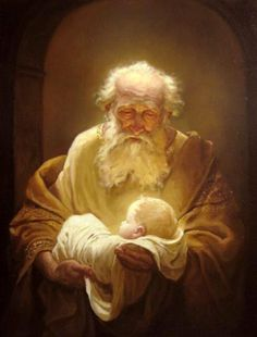 Simeon by Andrey Shishkin; Luke 2:26 - 30:  And it was revealed unto him (Simeon) by the Holy Ghost, that he should not see death, before he had seen the Lord's Christ. And he came by the Spirit into the temple: and when the parents brought in the child Jesus, to do for him after the custom of the law, Then took he him up in his arms, and blessed God, and said, Lord, now lettest thou thy servant depart in peace, according to thy word: For mine eyes have seen thy salvation