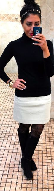 Black knit top, tights, and shoes with a white skirt and gold accessories (especially love the headband). Love this ensemble! This is a great blog. She does a fab job of styling her self and shares her outfits with her readers, even tells you where each piece in her outfit was purchased!