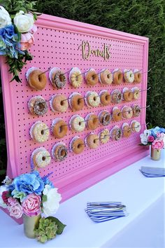 Our large donut wall, 'Go Pink or Go Home'. Now available for hire.