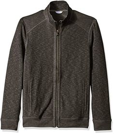 Calvin Klein Mens Jaquard Fabric Blocked Long Sleeve Full Zip Knit Black Medium >>> Learn more by visiting the image link.