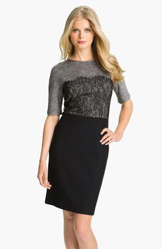 would add a belt, but otherwise...cute! Suzi Chin for Maggy Boutique Mixed Media Sheath Dress