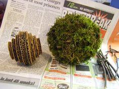 Moss orbs made with cardboard instead of styrofoam.