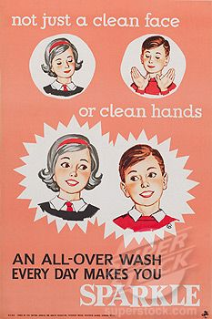 """""""Not just a clean face or clean hands"""", public health poster, 1950s (1895-23703 / 10411410 © Science and Society)"""