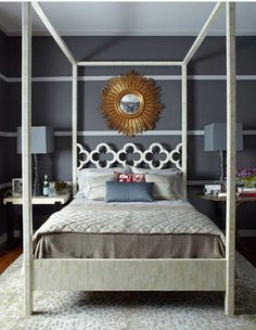 I used to have this mirror before my house burned down. I love mismatched bedside tables. And grey lampshades.