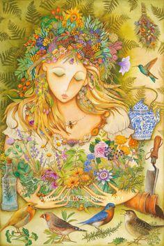 Diosa Herbal - una tarjeta de felicitación de Bellas Artes