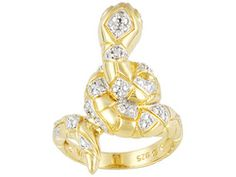 Diamond Accent Round 18k Yellow Gold Over Sterling Silver Snake Ring