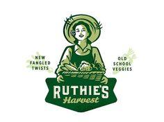 Ruthie's Harvest by Amit Botre - Dribbble Logos Vintage, Logos Retro, Retro Vintage, Typography Logo, Logo Branding, Branding Design, Logo Luxury, Logo Character, Outline Illustration