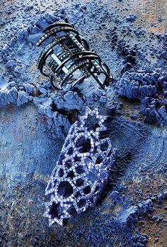 Dauphin's rhodium- plated 18-karat white gold ring with black diamonds; Lauren X Khoo's rhodium-plated 18-karat white gold ring with diamonds. [Photo: Claire Benoist]