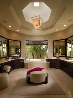 Octagon shape bathroom with plenty of counter space