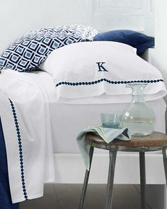 We updated classic white sheets with beautiful embroidery, from geometric shapes to a feminine flourish.