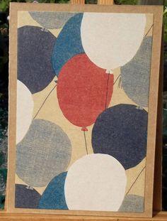 Handmade Birthday Cards, Happy Birthday Cards, Greeting Cards Handmade, Etsy Uk, Card Maker, Birthday Balloons, Homemade Cards, White Envelopes, Etsy Store