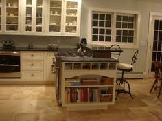 Kitchen hidden bookshelf.... but books add good style to the kitchen. They are squares whereas most dishes and glasses and pots and pans and foods are more rounded.