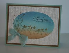 Wetlands Thank You by bwstamper - Cards and Paper Crafts at Splitcoaststampers Wetlands Stampin Up, Stampin Up Cards, Birthday Thank You Cards, Beach Cards, Sea Theme, Bird Cards, Man Birthday, Masculine Cards, Note Cards