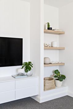 home decor scandinavian Amazing Minimalist Living Room Design Ideas To Tryroom with built-ins with open shelf decor, how to style open shelves, bookshelves next to tv in neutral living room decor with neutral home decor accessories Nordic Living Room, Home Living Room, Living Room Decor, Living Room Shelving, Tv Shelving, Home Decor Shelves, Decor Room, Living Area, Wall Decor