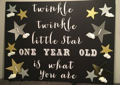 I didn't have a wall behind the cake table so I had to get creative. I decorated a trifold poster board with my son's first birthday party theme...twinkle twinkle little star. This will sit on the back of the cake table! #firstbirthday #twinkletwinklelittlestar #boysbirthdaypartythemes