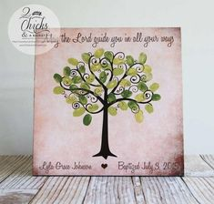 Baptism Fingerprint Tree Sign Baptism Or Christening Guest Dates Tree, Book Page Crafts, Fingerprint Tree, Guest Book Alternatives, Tree Art, Craft Stores, Christening, Colorful Backgrounds, Etsy
