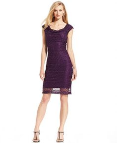 Connected Cap-Sleeve Shimmer Lace Sheath - Dresses - Women - Macy's