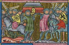El Arca del Pacto es capturada por los filisteos manuscrito iluminado (1300)