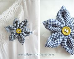 white and blue gingham brooche