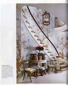 David Easton - entry in NYC - Gracie wallpaper, 18th c semi-circular console table, 1790 Italian Directoire chairs