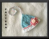 Baby Elf Hat Knitting Pattern with Lace Brim and Flower - Striped Elf Hat Pattern