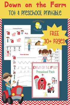 Your toddlers and preschoolers will love this free farm themed printable pack! | homeschoolpreschool.net