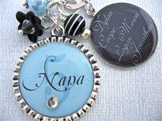 Nana Blue and Black Double Pendant Keychain or Necklace