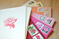 Rose Stationery Postage Envelope Card Prints by Edelweiss Post
