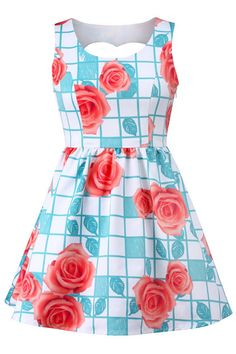 "ROMWE   ""Rose Plaid"" Cut-Out Dress, The Latest Street Fashion"