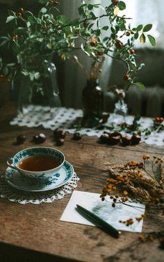 A warm cup of Tea as I sit to write a personal note to mail to a friend. Coffee Time, Tea Time, Momento Cafe, Chocolate Cafe, Pause Café, Mini Desserts, Afternoon Tea, Tea Set, Chocolates