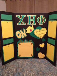 Handcrafted Chi Eta Phi poster board for service events.