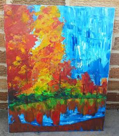 Acrylic on canvas Autumn by the River by AshleyArtsGallery on Etsy