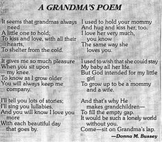 This brings back memories of my grandma and how much she loved my brother and me. She's been in Heaven for 16 years, and there isn't a day that goes by that I dont miss her. I love you, Grandma. Grandmother Poem, Grandma And Grandpa, Grandmothers, Robert Allen, Grandma Quotes, Nana Poems, Daddy Poem, Daughter Poems, Pomes