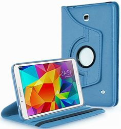 """Ocean Breeze Blue {Shockproof Pro Carrier} 360 Degree Rotating Stand Case for Samsung Galaxy Tab 4 10.1"""" Inch Tablet (High Quality Koskin Vegan Faux PU Leather Cover + Slim Folding Lightweight Design) myLife Brand Products http://www.amazon.com/dp/B00QMQZEES/ref=cm_sw_r_pi_dp_.RJHub1KZGWY3"""