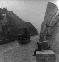 The ship canal, Corinth - N. form near its southern end - showing bridge in distance - Greece Pictures, Old Pictures, Old Photos, Vintage Photos, Corinth Canal, Greece History, Still Picture, As Time Goes By, Athens Greece