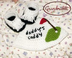 Baby Crocheted GOLF HAT and SHOES for Boys or Girls by Grandmabilt, $49.00