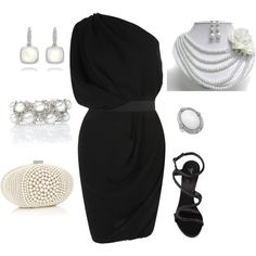 Dress Outfit (black, white, pearls) -oh, if only i could get away with the belted look!
