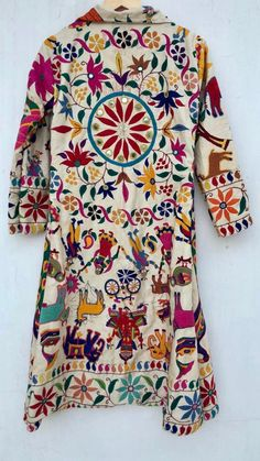 Excited to share this item from my shop: Embroidered coat / embellished robe / banjara vintage jacket / boho kimono robe Kurti Embroidery Design, Hand Work Embroidery, Embroidery Fashion, Vintage Jacket, Blouse Vintage, Navratri Dress, Boho Kimono, Saree Blouse Designs, Handmade Clothes