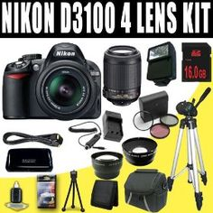 Nikon D3100 14.2MP Digital SLR Camera with 18-55mm f/3.5-5.6 AF-S DX VR Nikkor Zoom Lens + Nikon 55-200mm f/4-5.6G ED IF AF-S DX VR + Wide Angle Telephoto Lenses + 16GB Deluxe DavisMAX Accessory Kit   Price:$956.35