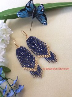 "Seed Beaded Earrings, Name: ""Twinkle, Twinkle"" Navy Blue, Boho Earrings, Dan. Seed Bead Earrings, Fringe Earrings, Blue Earrings, Beaded Earrings, Seed Beads, Crochet Earrings, Beaded Jewelry, Peacock Earrings, Jewellery"
