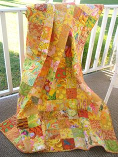 Patchwork Quilt Throw Size Blanket Kaffe Fassett by PeppersAttic I LOVE these colors! Bright Quilts, Yellow Quilts, Colorful Quilts, Quilting Projects, Quilting Designs, Orange Quilt, Quilted Throw Blanket, Traditional Quilts, Scrappy Quilts
